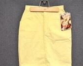 1980s Bonjour Yellow Cotton Twill Mini Skirt