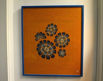 1960s Bright Daisy Needlepoint Framed Picture