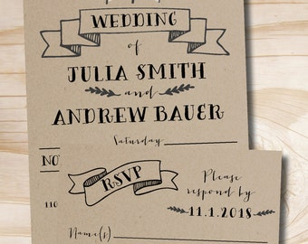 Rustic Kraft Pine Trees Wedding Invitation and Response Card / RSVP Invitation Suite