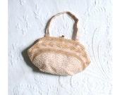 pale peach beaded handbag - cocktail purse / Bridal - wedding / Belgium - glass beads & silk . mint vintage
