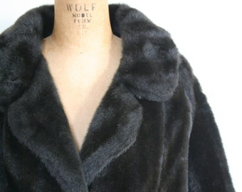 vintage 1950s classic faux fur coat - Winter fur jacket / espresso brown fur coat - 1950s glamour / 50s ladies vegan fur coat