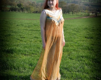 Sheer boho maxi dress, Blue & beige silk chiffon tunic goddess dress. Game of Thrones style fashion. Summer festival bohemian clothing.