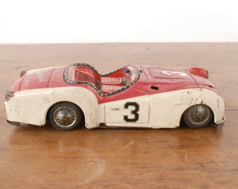 Vintage Bandai Triumph TR3 tin litho friction toy race car, Japan, red & white convertible, mechanical diecast sports car model 811, 1950s