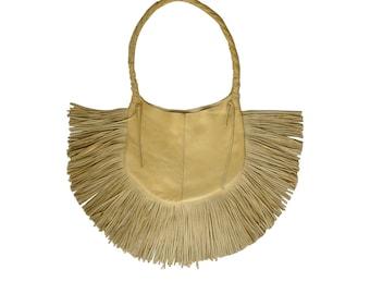 SALE Fringe Hobo Bag , Leather , palomino yellow , FRANGIA BAG , Bohemian  fringe bag, Handmade Leather Hobo, High End Bag