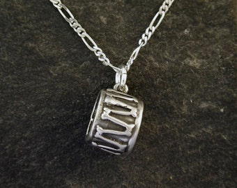Sterling Silver Drum Pendant on a Sterling Silver Chain