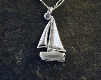 Sterling Silver Hobie Cat Sloop Sailboat Pendant on a Sterling Silver Chain.