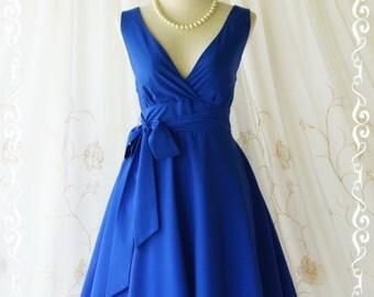My Lady II Spring Summer Sundress Vintage Design Bright Royal Blue Party Dress Blue Bridesmaid Dress Indigo Garden Party Sundress XS-XL