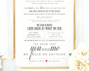 "Light Gray & Cherry Red, Dave Matthews ""You and Me"" - Valentine's Day, Wedding, Paper Anniversary Gift, Wedding Song Lyrics Wall Art Print"