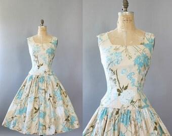 Vintage 50s Dress/ 1950s Cotton Dress/ Cream Floral Cotton Drop Waist Sundress w/ Sequins M