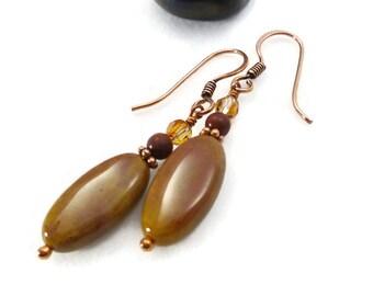 Fancy Jasper Earrings, Jasper Jewelry, Stone Earrings, Earthy, Dangle