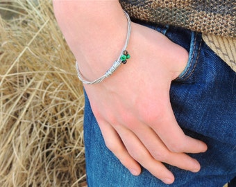 Silver GUITAR STRING BANGLE - guitar string bracelet - men's bracelet - green, black, silver - Sz. L -  for teens and adults - recycled jewe