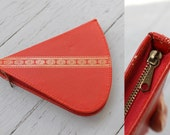 Vintage MOD Mid Century Fan-Shaped Sunset RED Gold West Germany Mini TRAVEL Sewing Kit / Manicure Set