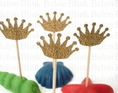 24 Decorative Royal Gold Crown Party Picks, Toothpicks, Food Picks, Cupcake Toppers - No649