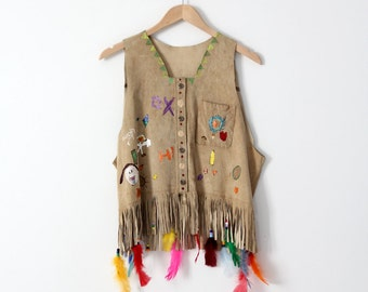 vintage painted leather vest with feathers, boho vest