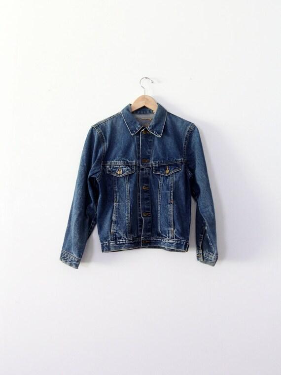 FREE SHIP  1970s denim jacket, small jean jacket, dark wash denim
