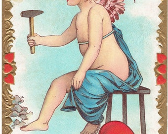 Antique Valentine Cupid Knocking with Heart on Chain Vintage Valentine's Day Card