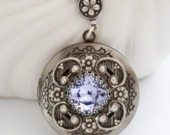 Purple Amethyst  Glass Bead  silver locket,jewelry gift,Silver Locket,Locket,Silver Chain,Locket Necklace,Wedding Necklace