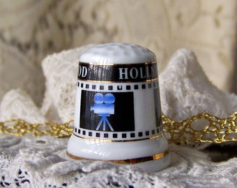 Vintage Hollywood Thimble Lights Camera Action Red Director Chair Thimble Collector Sewing Room Vintage 1980s
