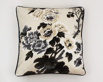 Schumacher Pyne Hollyhock (Both Sides) Pillows in Charcoal-shown with Black Welting