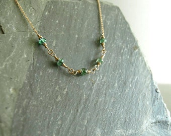 Zambian emerald necklace, natural emerald gemstones, genuine emerald beads, 14k goldfilled chain of emerald, precious real emerald jewelry
