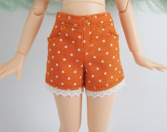 Orange polka dot shorts for Pure Neemo S or M and Blythe/Licca