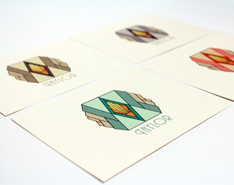 Custom Art Deco Note Cards - Customized with your name, Letterhead, Custom Stationery, Set of 8 Cards, Thank You Cards, Retro Stationery