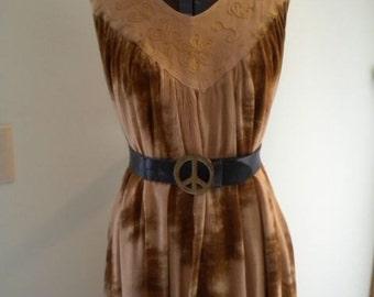 Vintage Sleeveless Tie Dye Maxi Sun Dress Ethnic  Festival Hippie Dress