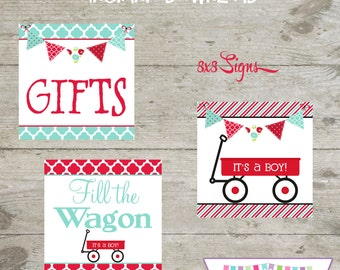 INSTANT DOWNLOAD - Shower Signs - Red Wagon - Printable