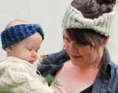 PDF knitting pattern, girl headband, easy bow headband