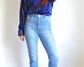 Versace Blue and Red Velvet Blouse
