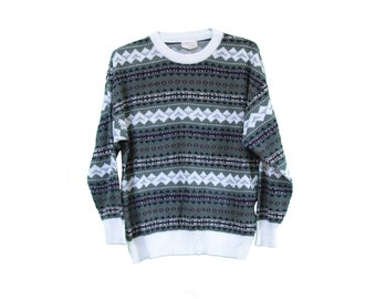 90's Horizontal Print Sweater Oversize Sweater, Gray White Size Medium / Large