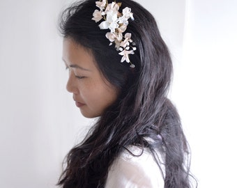 MISS Olivia - golden floral bridal wedding hair comb. Ready to ship