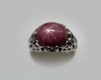 Large Natural Purplish Red Star Ruby In Filigree Sterling Silver Ring, 6.92ct. Size 7.5