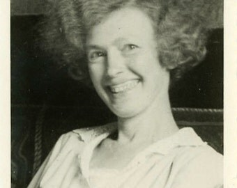 "Vintage Photo ""Thick Cheese"" Woman Smiling Snapshot Photo Old Antique Photo Black & White Photograph Found Paper Ephemera Vernacular - 81"