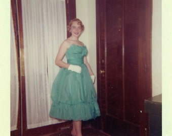 """Vintage Color Photo """"Waiting for Her Date"""" Snapshot Photo Antique Photo Color Photography Found Photo Paper Ephemera Vernacular - 85"""