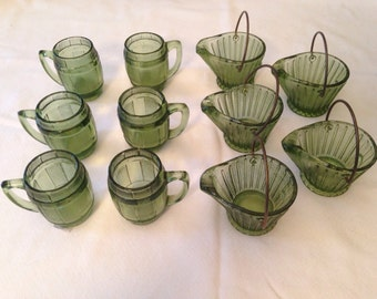 Barrels and buckets barware green glass shot glasses