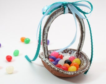 Jelly Bean Basket, Spring Decor, Tiny Pottery Basket, Easter Basket, Easter Decoration