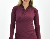 Medium Longsleeve Wrap Shirt Fig Plum Burgundy Maroon