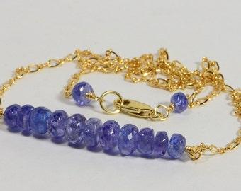Tanzanite Necklace Bar Tanzanite Jewelry Handmade Jewelry Gemstone Bar Necklace Gold wire wrapped necklace