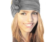 Gray Headband Stretch Chunky Wide Black Brown Taupe Beige Grey White Dark Gray Winter Head Wrap Boho Chic Yoga Cotton Jersey