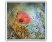 Edem, print on canvas, poppy, fantasy art, giclee print, wall panel, fairy bird, relax art, meditation, silk painting, batik art, red flower