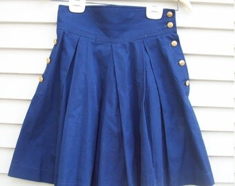 High Waisted Pleated Nautical Shorts / Skort With Goldtone Anchor Buttons From Romania XS