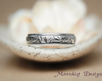 Calla Lily Pattern Silver Wedding Band - Flower Promise Ring - Bridal Anniversary Ring - Silver Pattern Floral Band - Unique Floral Band