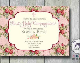 Floral Communion/Christening Invite