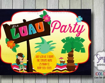 Luau Party Invitation, Birthday Hula Invite