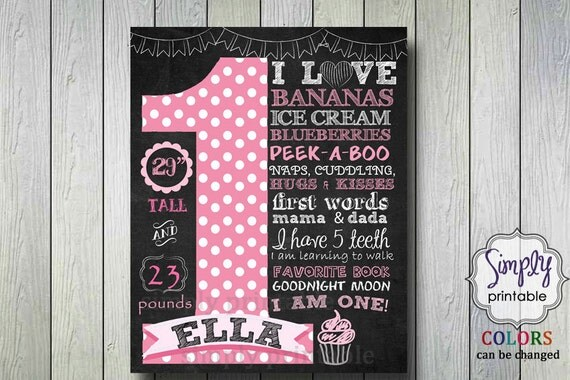 1st Birthday Poster, Printable Digital File, Chalkboard