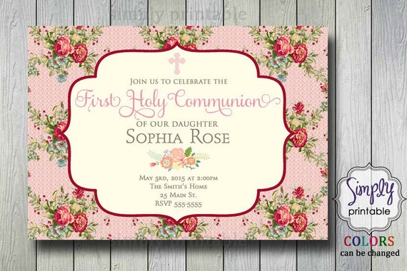 Floral Communion/Christening Invite