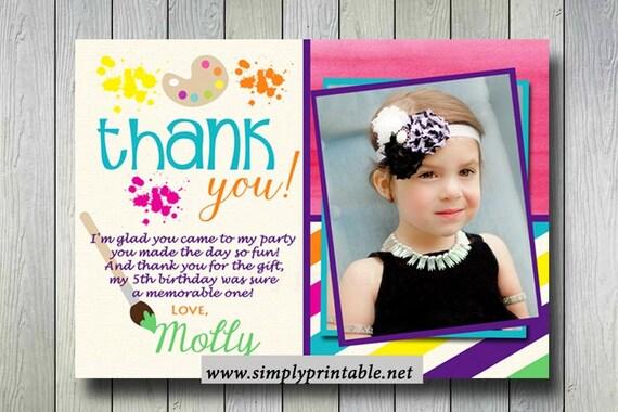 Painting Birthday Thank you Card, Art and Craft Invite, Ceramics, Digital, Printable
