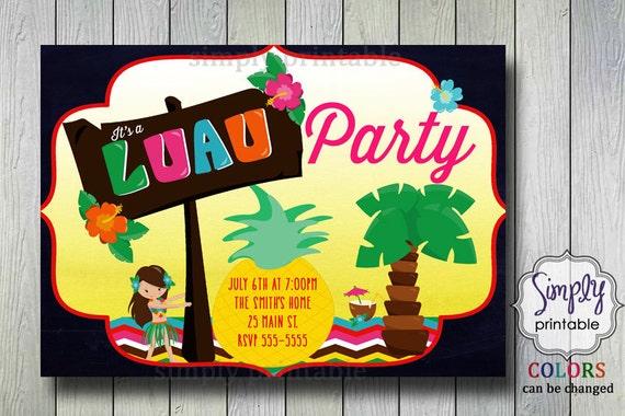 Luau Party Invitation, Birthday Hula Invite