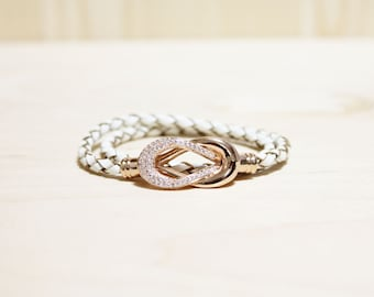 Rose Gold Plated Eternity Motive leather Bracelet(Ivory)
